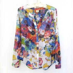 Ecru Floral Fitted Blouse